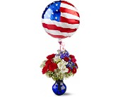 Red, White and Balloon Bouquet in Woodbridge VA, Lake Ridge Florist