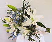 White Lilly's and Delphinium in Kalamazoo MI, Ambati Flowers