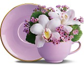 Orchid Teacup Bouquet by Teleflora in Nationwide MI, Wesley Berry Florist, Inc.