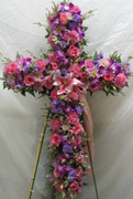 STANDING ENCRUSTED PASTEL CROSS by Rubrums in Ossining NY, Rubrums Florist Ltd.