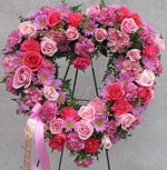 STANDING PINK OPEN HEART by Rubrums in Ossining NY, Rubrums Florist Ltd.