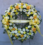 YELLOW & WHITE STANDING WREATH  by Rubrums in Ossining NY, Rubrums Florist Ltd.
