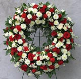 RED & WHITE STANDING WREATH by Rubrums in Ossining NY, Rubrums Florist Ltd.