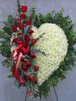 STANDING WHITE HEART W/ RED ROSE SASH by Rubrums in Ossining NY, Rubrums Florist Ltd.