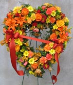 FALL MIX STANDING OPEN HEART by Rubrums in Ossining NY, Rubrums Florist Ltd.