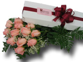 12 PINK ROSES BOXED in Ossining NY, Rubrums Florist Ltd.