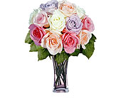 12 Pastel Long Stem Roses in Pleasanton TX, Pleasanton Floral