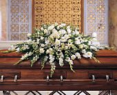 Deluxe Pure White Casket Spray in Bethesda, Maryland, Suburban Florist