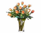 One Dozen Imported Peach Roses in Seattle WA, Topper's European Floral Design