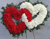 RED & WHITE DOUBLE STANDING HEART by Rubrums in Ossining NY, Rubrums Florist Ltd.