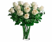 One Dozen Imported White Roses in Seattle WA, Topper's European Floral Design