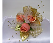 Three Sweet Heart Rose Corsage - Peach in Indianapolis IN, Gillespie Florists