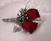 Two Sweet Heart Rose Boutonniere - Red in Indianapolis IN, Gillespie Florists
