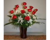 Zephyrhills Flowers - Dozen Roses Vased - Marion Smith Florist