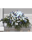 Blue and White Casket Cover with Cross in Southfield MI, Thrifty Florist