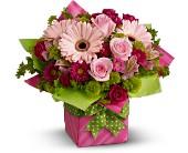 Ft Lauderdale Flowers - Teleflora's Pretty Pink Present - Deluxe - Brigitte's Flowers