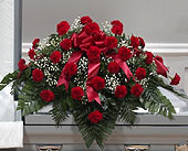 Red Carnation Traditional Casket Spray (Metro-Detr in Southfield MI, Thrifty Florist