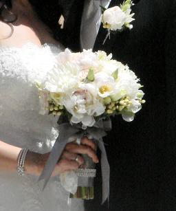 Silver and White Bouquet in Cerritos CA, The White Lotus Florist