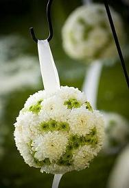 Green and White Pomanders in Cerritos CA, The White Lotus Florist
