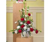 Red and White Arrangement in Watertown CT, Agnew Florist