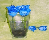 Blue Roses with River Rocks in Toronto ON, Simply Flowers