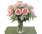 Pink Roses Vased in Southfield MI, Thrifty Florist