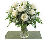 White Roses Vased in Southfield MI, Thrifty Florist