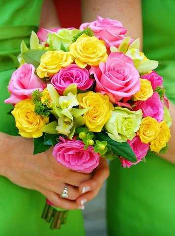 Hot Pink, Yellow, and Greens in Hilliard, Ohio, Hilliard Floral Design