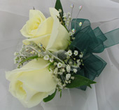 WHITE ROSE CORSAGE W/ GEMS in Ossining NY, Rubrums Florist Ltd.