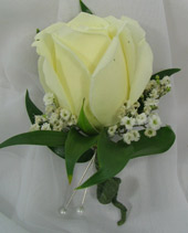 WHITE ROSE BOUTONNIERE in Ossining NY, Rubrums Florist Ltd.