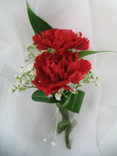 RED MINI-CARNATION BOUTONNIERE in Ossining NY, Rubrums Florist Ltd.