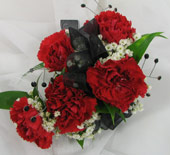 RED MINI-CARNATION CORSAGE W/ GEMS in Ossining NY, Rubrums Florist Ltd.