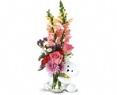 Teleflora's Bear Hug Bear with Pink Roses in Flower Delivery Express MI, Flower Delivery Express