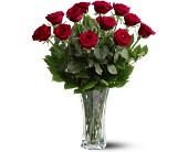 A Dozen Premium Red Roses in Centerville IA, Flower-Tique