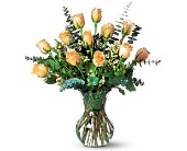 A Dozen Pale Peach Roses in Nationwide MI, Wesley Berry Florist, Inc.