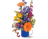 Cheerful Flowers in a Mug in Nationwide MI, Wesley Berry Florist, Inc.
