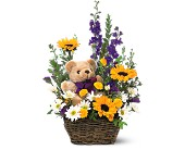 Basket & Bear Arrangement in Houston TX, Village Greenery & Flowers