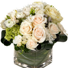 Romantic Compact Square Vase in West Hartford CT, Lane & Lenge Florists, Inc