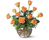 A Dozen Orange Roses in Fairfield CA, Flower Basket