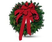 Wreath with Red Velvet Bow in Hollywood FL, Flowers By Judith