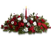 Happy Holidays Centerpiece in Mequon WI, A Floral Affair, Inc