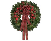 Fresh Wreath with Apples in Fairfield CT, Tom Thumb Florist