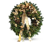 Golden Evergreen Wreath in Houston TX, Fancy Flowers