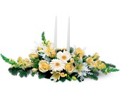 Two White Taper Centerpiece in Crossett AR, Faith Flowers & Gifts