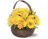 Yellow Flower Basket in Manalapan NJ, Rosie Posies