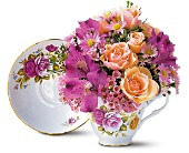 Pink Roses Teacup Bouquet in Three Rivers MI, Ridgeway Floral & Gifts
