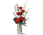 Red Roses and White Orchids in East Syracuse NY, Whistlestop Florist Inc