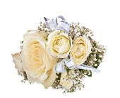 White Ice Roses Wristlet in Fairfax, Virginia, Greensleeves Florist