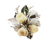 3 White Mini Roses Wristlet in Fairfax, Virginia, Greensleeves Florist