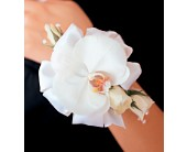 White Orchid and Roses Wristlet in Weymouth MA, Bra Wey Florist